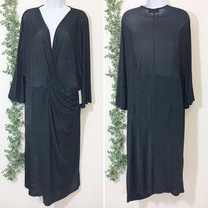 Eloquii deep v neck semi sheer draped dress